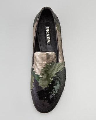 Prada Camouflage Sequin Evening Loafer