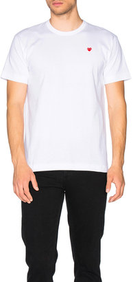 Comme des Garcons Small Red Emblem Cotton Tee in White | FWRD