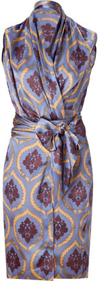 Sophie Theallet Silver Blue Baroque Print Silk Wrap Dress