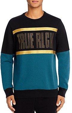 True Religion Color-Block Rhinestone Logo Sweatshirt