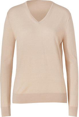 Jil Sander Navy Pale Beige Wool V-Neck Pullover