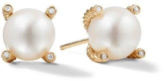 David Yurman White Freshwater Pearl, Diamond & 18K Yellow Gold Earrings