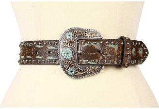 Nocona Studded Tarnished Gator Belt (Tan) - Apparel
