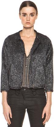 Isabel Marant Ginkle Bumpy Lurex Metallic Jacket in Black Silver