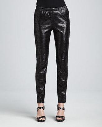Neiman Marcus Croc-Embossed Leather Leggings