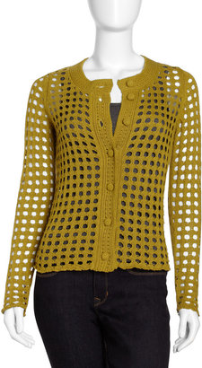 Isda & Co Amelie Open-Weave Cardigan, Olive