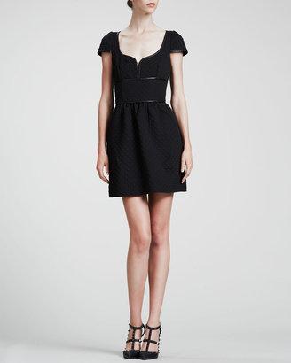 RED Valentino Short-Sleeve Sweetheart Dress, Navy/Black
