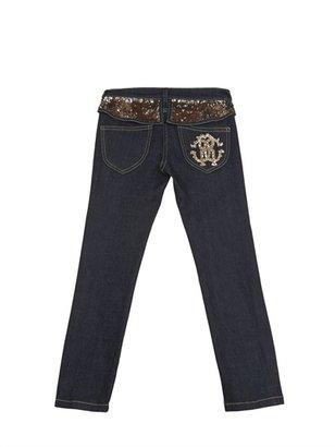 Roberto Cavalli Sequins And Frills Slim Fit Denim Jeans