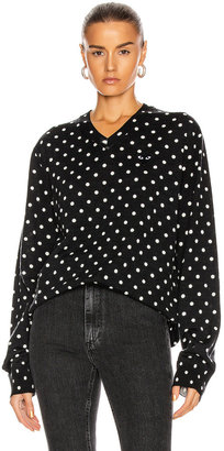 Comme des Garcons Wool Jersey Dot Print Black Emblem Sweater in Black | FWRD