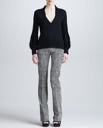 Roberto Cavalli Boot-Cut Pants with Mixed Textures