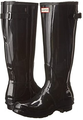 Hunter Back Adjustable Gloss Rain Boots (Black) Women's Rain Boots