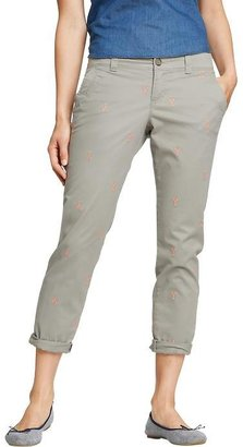 Old Navy Women's Embroidered-Graphic Boyfriend Skinny Khakis