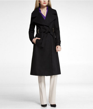 Express Metal Trimmed Wool Blend Trench Coat