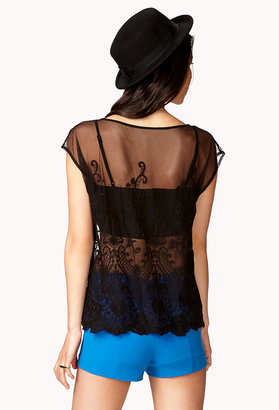 Forever 21 Embroidered Lace Top