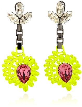 Mawi Neon Flower Drop Earrings With Gemstone