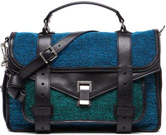 Proenza Schouler Medium PS1 Tweed and Leather Satchel in Emerald & Cerulean & Ocean