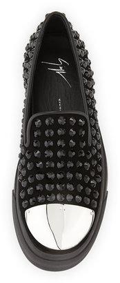Giuseppe Zanotti Crystal-Studded Cap-Toe Skate Shoe