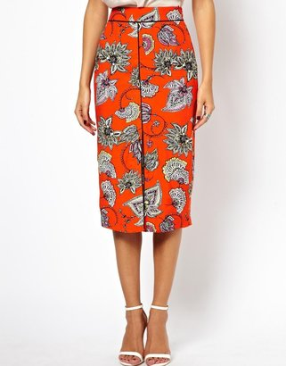 Asos Pencil Skirt in Bold Floral with Centre Front Split