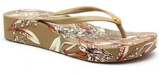 "Tory Burch Thandie"" Khaki, Cream and Orange Wedge Flip Flop"