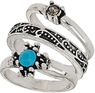Topshop Engraved Star Bead Ring