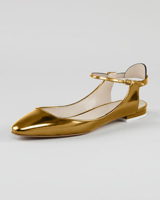 Chloé Open-Heel Metallic Leather Flat, Gold