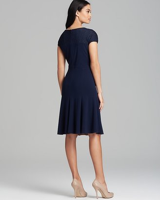 Anne Klein Dress - Cap Sleeve Textured Knit Fit and Flare
