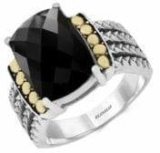 Effy Sterling Silver and 18K Yellow Gold Onyx Ring