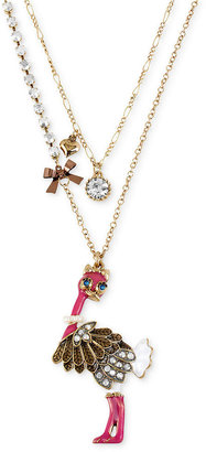 Betsey Johnson Necklace, Antique Gold-Tone Ostrich Two-Row Pendant Necklace