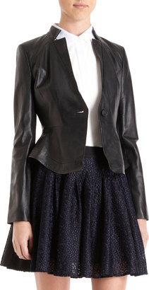 ICB Perforated Single-Button Leather Jacket