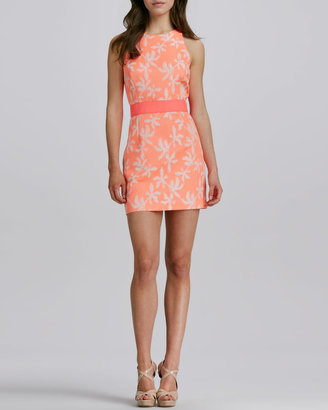 Milly Sonya Two-Tone Short Jacquard Dress