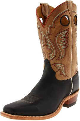 "Justin Boots Men's U.S.A. Bent Rail Collection 11"" Boot Wide Square Single Stitch Toe Leather Outsole Black Burnished Cow/Tan ""America"" Burnished 10 B US"