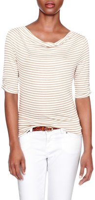 The Limited Striped Cowlneck Top