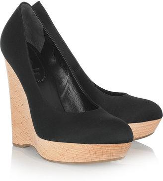 Yves Saint Laurent Satin and wooden wedge pumps