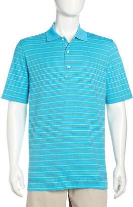 Bobby Jones Mini-Stripe Polo Shirt, Turquoise