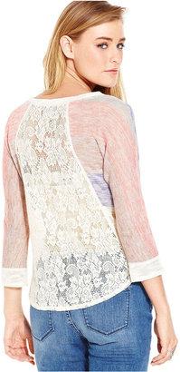 American Rag Juniors Top, Three-Quarter Sleeve Striped Lace Knit