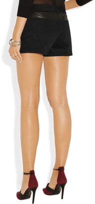 Alexander Wang Leather-trimmed cotton-blend twill shorts