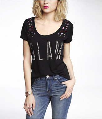 Express Embellished Scoop Neck Graphic Tee - Glam