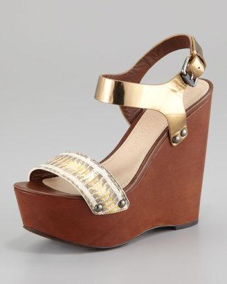Vera Wang Jamaya Metallic Snake Wedge Sandal