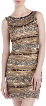 Aidan Mattox Beaded Net Cocktail Dress, Light Gold