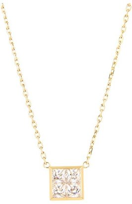 Michael Kors Very Hollywood CZ Square Pendant Necklace (Gold) - Jewelry
