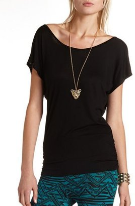 Charlotte Russe Chain-Back Ruched Tunic