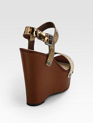 Vera Wang Jamaya Metallic Snake-Print Leather Wedge Sandals