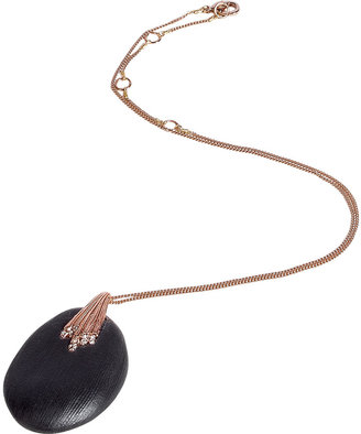 Alexis Bittar Rose gold necklace with black Lucite pendant