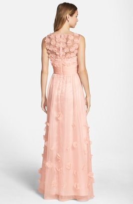 JS Collections Floral Appliqué Chiffon Gown