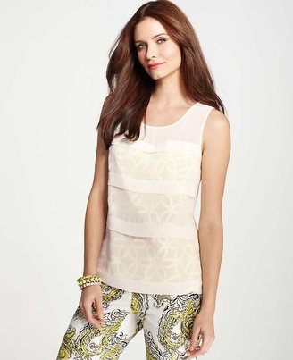 Ann Taylor Tiered Floral Overlay Shell