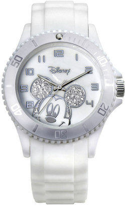 Disney Mickey Mouse Crystal Accent White Resin Watch $35 thestylecure.com