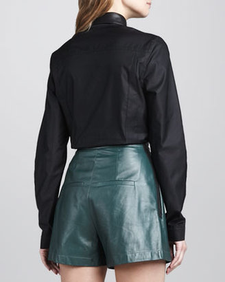 Robert Rodriguez Leather-Collar Cotton Blouse