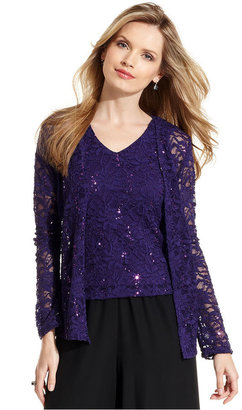 Onyx Evening Set, Long-Sleeve Sequin Lace Jacket and Sleeveless Top