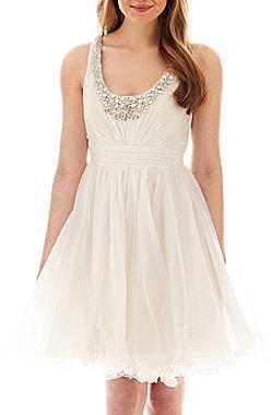 Ruby Rox Sleeveless Jeweled-Neck Dress
