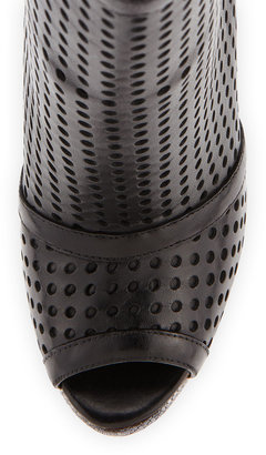 Brian Atwood Perforated Platform Ankle Boot, Black